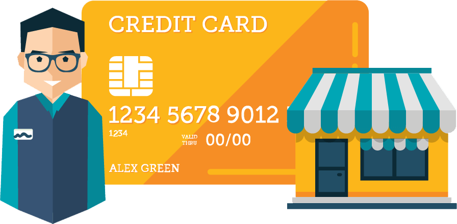 Man with Credit Card an Shop Illustration