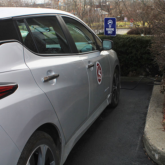 Nissan Leaf in EV Parking Lot